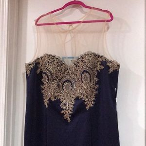 Elegant Navy Formal Gown w/ Gold embroidery, 26